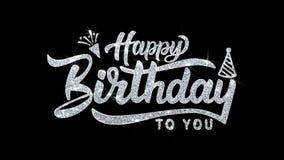 Joyeux anniversaire le texte de clignotement souhaite des salutations de particules, invitation, fond de c?l?bration illustration de vecteur