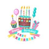 Joyeux anniversaire Les gâteaux et les pâtisseries Images stock