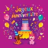 Joyeux Anniversaire lycklig födelsedag i franskt royaltyfri illustrationer