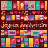 Joyeux Anniversaire lycklig födelsedag i franskt Royaltyfria Foton