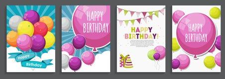 Joyeux anniversaire, salutation et calibre S de vacances de carte d'invitation illustration stock