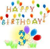 Joyeux anniversaire trois Images libres de droits