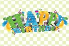 Joyeux anniversaire ; Type 3D lustré Photographie stock libre de droits