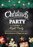 Joyeux boîte-cadeau et arbre de fête de Noël sur l'invi noir de fond illustration stock