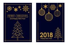 Joyeux cartes à la mode de Noël et de bonne année Arbre, flocons de neige et décorations linéaires de sapin sur le fond noir illustration de vecteur