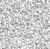 Joyeux x& x27 de fond sans couture de modèle ; MAS, illustration réglée de dessin de main d'enfants d'icône de symbole de Noël Photographie stock libre de droits