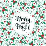 Joyeux et lumineux Carte de lettrage de main de Noël Illustration de vecteur Photos stock