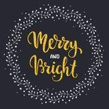 Joyeux et lumineux Carte postale de vacances d'hiver avec le lettrage de main de texture de scintillement Illustration de vecteur Image stock