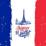 Joyeux 14 Juillet, handbokstäver Uttryck som översätts från franska lyckliga 14th Juli Illustration för Bastilledag Royaltyfria Foton
