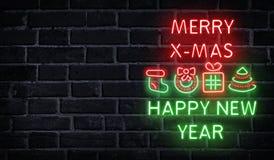 Joyeux mots au néon de Noël et de bonne année photographie stock libre de droits