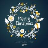 Joyeux Noël à l'intérieur de carte d'or d'ornement de cercle sur Teal foncé illustration libre de droits