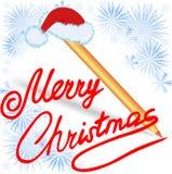 Joyeux Noël, écrit en encre rouge Photo stock