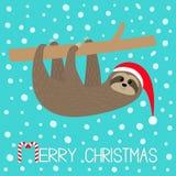 Joyeux Noël Accrocher se reposant de paresse sur la branche Santa Hat Visage et mains Personnage de dessin animé mignon Bonjour h illustration de vecteur