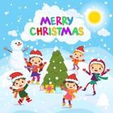Joyeux Noël 2017 Amusement de l'hiver Enfants gais jouant dans la neige Illustration courante de vecteur d'un groupe d'enfants he illustration libre de droits