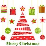 Joyeux Noël, arbre, cadeaux, vacances, nouvelle année, fils, boules, jouets illustration stock