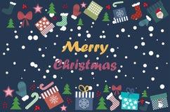 Joyeux Noël, attributs de Noël illustration de vecteur