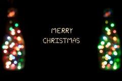 Joyeux Noël avec des lumières de bokeh Photo stock