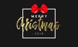 Joyeux Noël avec l'arc rouge dans le cadre Fond noir et d'or de luxe de couleur Illustration de la meilleure qualité de vecteur a illustration libre de droits
