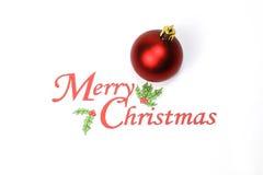 Joyeux Noël avec l'espace de marbre de blanc d'ornement de boule de décoration Photo stock