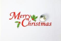 Joyeux Noël avec l'espace de marbre de blanc d'ornement de boule de décoration Images stock