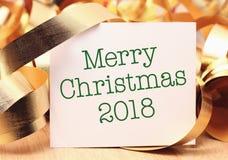 Joyeux Noël 2018 avec la décoration d'or photographie stock