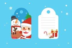 Joyeux Noël avec Santa et amis Étiquette de Noël Photographie stock