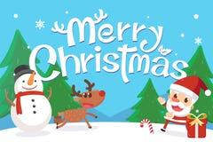 Joyeux Noël avec Santa et amis Bonhomme de neige et renne de Santa avec des mots de Joyeux Noël Photographie stock libre de droits