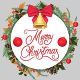 Joyeux Noël Beau calibre de Noël avec des aiguilles de pin, un houx et un arc rouge illustration stock