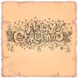 Joyeux Noël Belle inscription tirée par la main Images stock