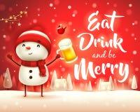 Joyeux Noël ! Bonhomme de neige gai avec de la bière dans le paysage d'hiver de scène de neige de Noël illustration stock