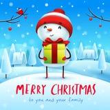 Joyeux Noël ! Bonhomme de neige gai avec le présent de cadeau dans le paysage d'hiver de scène de neige de Noël illustration stock