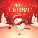 Joyeux Noël ! Bonhomme de neige gai sur des patins dans le paysage d'hiver de scène de neige de Noël illustration libre de droits