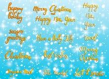 Joyeux Noël Bonne année, carte de voeux 2018 Ensemble de Noël de typographie avec la décoration tirée par la main des textes et d Photo stock