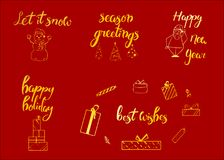 Joyeux Noël Bonne année, carte de voeux 2018 Ensemble de Noël de typographie avec la décoration tirée par la main des textes et d Images stock