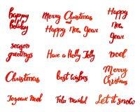 Joyeux Noël Bonne année, carte de voeux 2018 Ensemble de Noël de typographie avec la décoration tirée par la main des textes et d Photo libre de droits