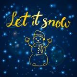 Joyeux Noël Bonne année, carte de voeux 2018 Laissez-le neiger Noël de typographie avec le texte tiré par la main et concevoir Images stock