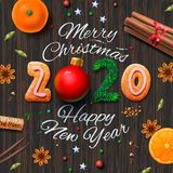 Joyeux Noël, bonne année 2020, fond de cru avec la typographie et épices pour le vin chaud de boissons de Noël illustration libre de droits