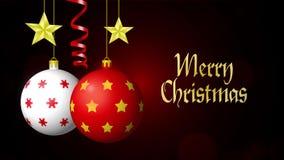 Joyeux Noël Boules, étoiles et serpentine sur le fond noir avec le bokeh 4K banque de vidéos