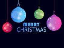 Joyeux Noël Boules accrochantes de Noël sur le fond noir Gradient coloré multi Effet de Bokeh Vecteur illustration stock
