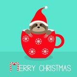 Joyeux Noël Canne de sucrerie Paresse se reposant dans la tasse de thé rouge de tasse de café Santa Hat Visage et mains Personnag illustration de vecteur