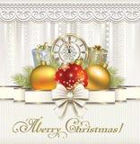 Joyeux Noël Carte de Noël avec des cadeaux Photographie stock libre de droits