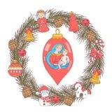 Joyeux Noël Carte de voeux de vecteur Guirlande des arbres de Noël illustration de vecteur