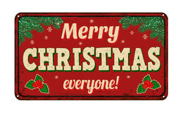 Joyeux Noël chacun, signe en métal de vintage Photos libres de droits