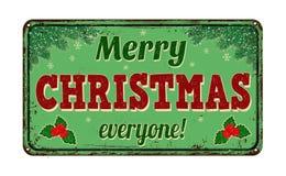 Joyeux Noël chacun, signe en métal de vintage Photo stock