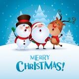 Joyeux Noël ! Compagnons de Noël heureux Image libre de droits