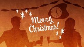 Joyeux Noël contre l'horloge et les couples de grillage clips vidéos