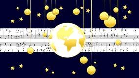 Joyeux Noël d'illustration musicale d'or banque de vidéos