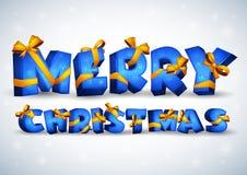 Joyeux Noël d'inscription bleue Photographie stock libre de droits