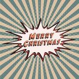 Joyeux Noël de bannière de félicitations Texte comique de bulle de la parole Images stock