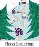 Joyeux Noël de carte postale Le village dans les montagnes Photographie stock